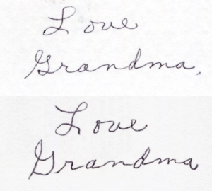 You can see the effort to make each letter in the lower image.  Though, to her credit, it's still way better than my handwriting is now.