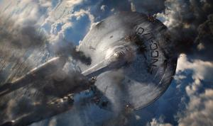 Everybody's favorite spaceship gets beaten to a bloody pulp... again...sigh.  ( (c) Paramount)